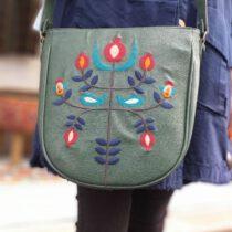 کیف دوشی چرمی سوزندوزی سبز
