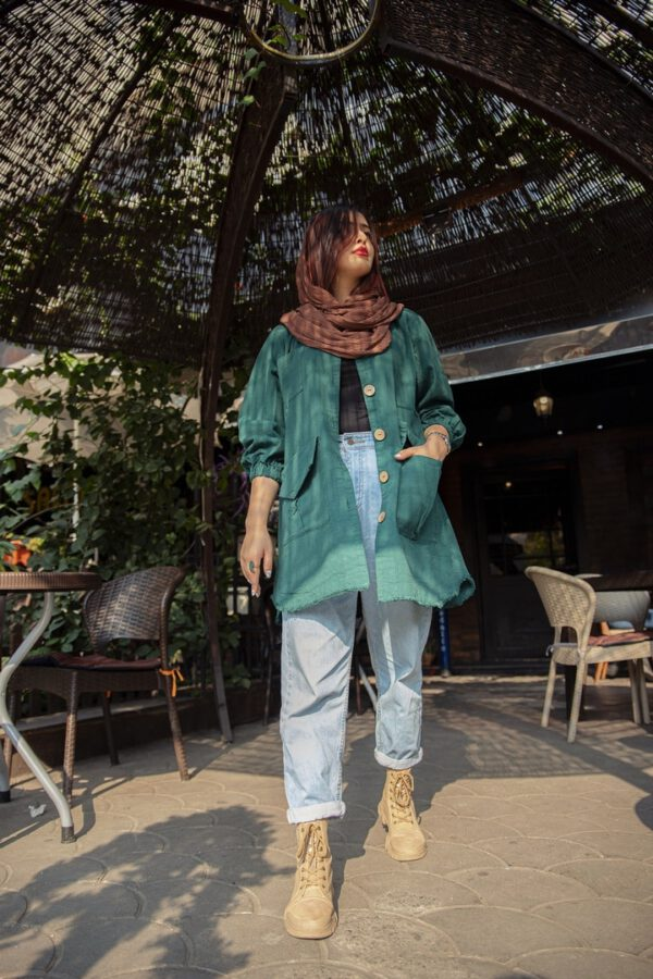 مانتو قشقایی پاییزه سبز لجنی